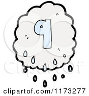 Cartoon Of Raincloud With Number Nine Royalty Free Vector Illustration