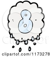 Cartoon Of Raincloud With Number Eight Royalty Free Vector Illustration