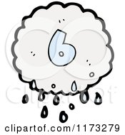 Cartoon Of Raincloud With Number Six Royalty Free Vector Illustration