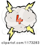 Cartoon Of Cloud With Lightning Bolts And Number Four Royalty Free Vector Illustration
