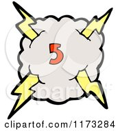 Cartoon Of Cloud With Lightning Bolts And Number Five Royalty Free Vector Illustration