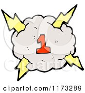 Cartoon Of Cloud With Lightning Bolts And Number One Royalty Free Vector Illustration by lineartestpilot