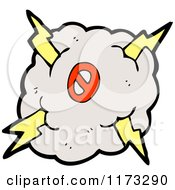 Cartoon Of Cloud With Lightning Bolts And Number Zero Royalty Free Vector Illustration