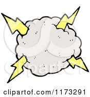 Cartoon Of Cloud With Lightning Bolts Royalty Free Vector Illustration