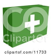 Green First Aid Box Kit With A White Cross Ready For A Medical Emergency Clipart Illustration by AtStockIllustration