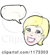 Cartoon Of Blonde Woman With Conversation Bubble Royalty Free Vector Illustration