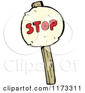 Cartoon Of A Stop Sign On A Wood Post Royalty Free Vector Clipart