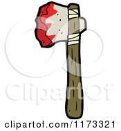 Cartoon Of A Bloody Axe Royalty Free Vector Clipart by lineartestpilot