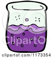 Cartoon Of A Science Beaker With Purple Chemicals Royalty Free Vector Clipart