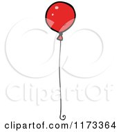 Cartoon Of A Red Balloon Royalty Free Vector Clipart by lineartestpilot