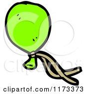 Cartoon Of A Green Balloon Royalty Free Vector Clipart