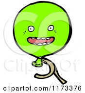 Cartoon Of A Green Balloon Mascot Royalty Free Vector Clipart by lineartestpilot