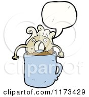 Cartoon Of Coffee And Donut Creature With Conversation Bubble Royalty Free Vector Illustration