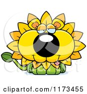 Cartoon Of A Goofy Dandelion Flower Lion Mascot Royalty Free Vector Clipart by Cory Thoman