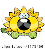 Cartoon Of A Happy Dandelion Flower Lion Mascot Over A Sign Royalty Free Vector Clipart by Cory Thoman