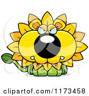 Cartoon Of A Mad Dandelion Flower Lion Mascot Royalty Free Vector Clipart by Cory Thoman