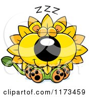 Cartoon Of A Sleeping Dandelion Flower Lion Mascot Royalty Free Vector Clipart by Cory Thoman