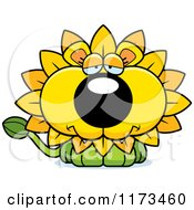 Cartoon Of A Depressed Dandelion Flower Lion Mascot Royalty Free Vector Clipart by Cory Thoman
