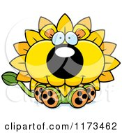 Cartoon Of A Happy Sitting Dandelion Flower Lion Mascot Royalty Free Vector Clipart by Cory Thoman