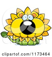 Cartoon Of A Happy Dandelion Flower Lion Mascot Royalty Free Vector Clipart