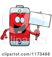Cartoon Of A Happy Battery Mascot Holding A Sign Royalty Free Vector Clipart