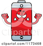 Cartoon Of A Mad Battery Mascot Royalty Free Vector Clipart