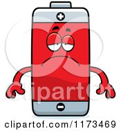 Cartoon Of A Depressed Battery Mascot Royalty Free Vector Clipart
