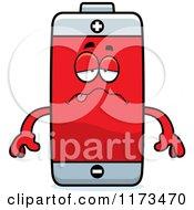 Cartoon Of A Sick Battery Mascot Royalty Free Vector Clipart