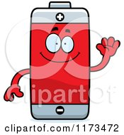 Cartoon Of A Waving Battery Mascot Royalty Free Vector Clipart by Cory Thoman