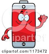 Cartoon Of A Waving Battery Mascot Royalty Free Vector Clipart