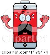 Cartoon Of A Screaming Battery Mascot Royalty Free Vector Clipart