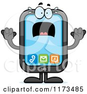 Cartoon Of A Screaming Smart Phone Mascot Royalty Free Vector Clipart