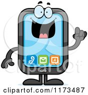 Cartoon Of A Smart Smart Phone Mascot With An Idea Royalty Free Vector Clipart by Cory Thoman