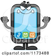 Cartoon Of A Mad Smart Phone Mascot Royalty Free Vector Clipart