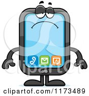 Cartoon Of A Depressed Smart Phone Mascot Royalty Free Vector Clipart