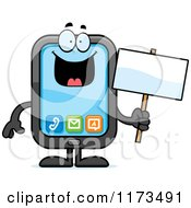 Cartoon Of A Happy Smart Phone Mascot Royalty Free Vector Clipart