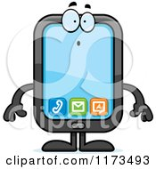 Cartoon Of A Surprised Smart Phone Mascot Royalty Free Vector Clipart