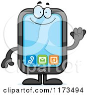 Cartoon Of A Waving Smart Phone Mascot Royalty Free Vector Clipart