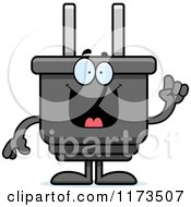 Cartoon Of A Smart Electric Plug Mascot With An Idea Royalty Free Vector Clipart