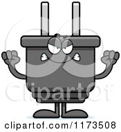 Cartoon Of A Mad Electric Plug Mascot Royalty Free Vector Clipart