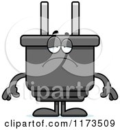 Cartoon Of A Depressed Electric Plug Mascot Royalty Free Vector Clipart