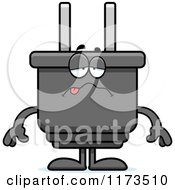 Cartoon Of A Sick Electric Plug Mascot Royalty Free Vector Clipart