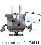 Cartoon Of A Happy Electric Plug Mascot Holding A Sign Royalty Free Vector Clipart
