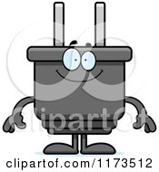 Cartoon Of A Happy Electric Plug Mascot Royalty Free Vector Clipart by Cory Thoman