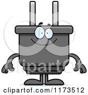 Happy Electric Plug Mascot