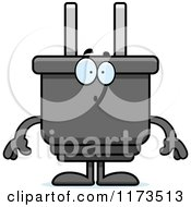 Cartoon Of A Surprised Electric Plug Mascot Royalty Free Vector Clipart