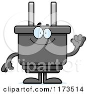 Cartoon Of A Waving Electric Plug Mascot Royalty Free Vector Clipart