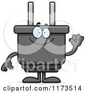 Cartoon Of A Waving Electric Plug Mascot Royalty Free Vector Clipart by Cory Thoman