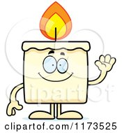 Cartoon Of A Waving Candle Mascot Royalty Free Vector Clipart