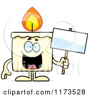 Cartoon Of A Happy Candle Mascot Holding A Sign Royalty Free Vector Clipart